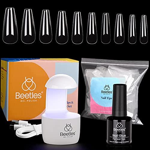 Beetles Nail Tips and Glue Gel Kit, 2 In 1 Nail Glue and Base Gel with 500Pcs Coffin Nails and LED Lamp DIY Nail Art Acrylic Nail Kit