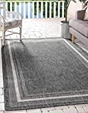 Unique Loom Outdoor Border Collection Casual Solid Border Transitional Indoor and Outdoor Flatweave Black Area Rug (4' 0 x 6' 0)