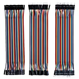 ELEGOO 120pcs Multicolored Dupont Wire 40pin Male to Female, 40pin Male to Male, 40pin Female to Female Breadboard Jumper Wires Ribbon Cables Kit Compatible with Arduino Projects