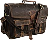 18 Inch Vintage Handmade Leather Messenger Bag for Laptop Briefcase Best Computer Satchel School Distressed Bag (Vintage Brown)
