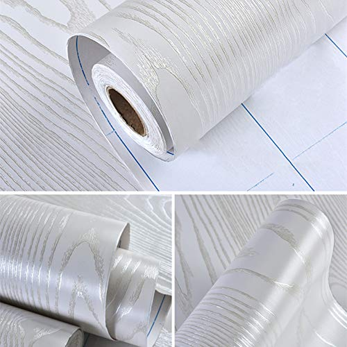 Hode Vinilos Decorativos Rollo Papel Adhesivo para Muebles Puerta Espesar Pegatina Autoadhesivo Impermeable Madera Blanco 40×200cm
