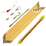 Boeray 11' Fiberglass Running Electrical Wire Cable Pulling Fish Tape Kit with 5 Different...