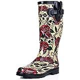 New Skull Roses Funky Festival Wellies Wellington Rain Boots Size US 9