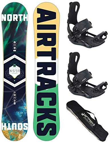 AIRTRACKS Snowboard Set/Pack/Planche North South Wide 152CM+Fixations Master FASTEC M+SB Sac/Neuf