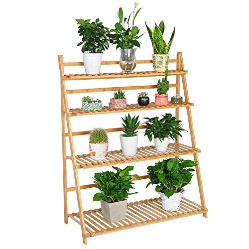 WOLTU Pflanzenregale Standregal aus Bambus Badregal 4 Ablagen RG9347br
