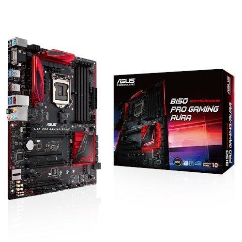 Asus B150 Pro Gaming/Aura Mainboard Sockel 1151 (ATX, Intel B150, 4x DDR4 Speicher, 6x SATA 6Gb/s, 2x USB 3.1, 4x USB 3.0, PCIe 3.0, RGB)
