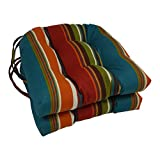 Blazing Needles Spun Polyester Patterned Outdoor U-Shaped Tufted Chair Cushions Set, Set of 2, 16', Skyworks Multicolor