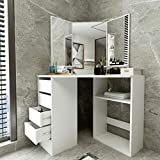White Corner Vanity Table Dressing with Three-Fold Mirror, Space Saving Makeup Desk Dressing Table with 5 Drawers & Storage Carbinet, Bedroom Bathroom Home Spa Decor Wedding Birthday Valentine