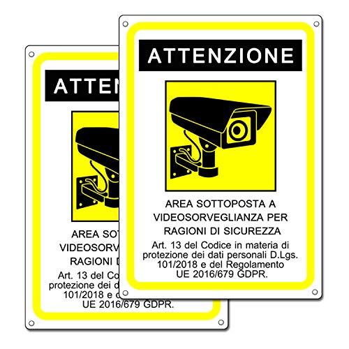 Cartello area videosorvegliata |Cartelli videosorveglianza per locali e proprietà privata |GDPR 2020 | plastica (20x15 cm) (2 Cartelli Area Videosorvegliata)