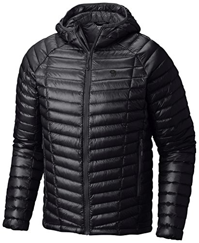 Mountain Hardwear Mens Ghost Whisperer Insulated Down Water Repellent Jacket with Hood - Black - S