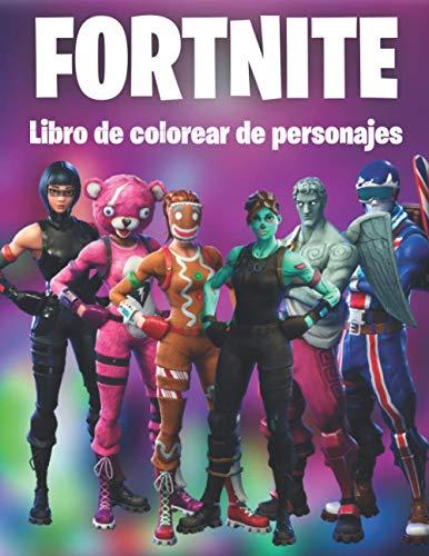 Fortnite Libro de colorear de personajes: 50 páginas para colorear para niños y adultos, dibujos asombrosos: personajes con muchas máscaras diferentes ... otros, un regalo divertido para los jugadores
