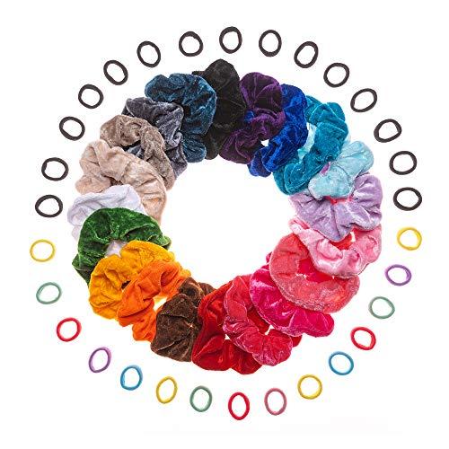 50 PEZZI 20 Scrunchies 15 elastici neri 15 mini elastici colorati Fasce per Capelli Donna Bambina Ragazza Accessori...