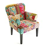 Versa Pink patchwork Sillón orejero tapizado con reposabrazos Butaca con Botones, Madera/algodón,...