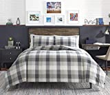Nautica   Portsmouth Collection   Ultra Soft & Cozy Microsuede Reversible Plaid Quilted Comforter Matching Shams, 3-Piece Bedding Set, King, Grey