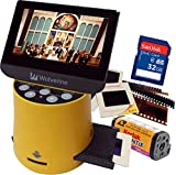 """Wolverine Titan 8-in-1 20MP High Resolution Film to Digital Converter with 4.3"""" Screen and HDMI Output, Worldwide Voltage 110V/240V AC Adapter & 32GB SD Card (Bundle) (Yellow)"""