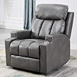 ANJ Leather Recliner Chair with 2 Cup Holders Contemporary Theater Seating Padded Single Sofa for Living Room(Light Grey)
