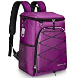SEEHONOR Insulated Cooler Backpack Leakproof Soft Cooler Bag Lightweight Backpack Cooler for Lunch Picnic Fishing Hiking Camping Park Beach, 25 Cans (Purple)