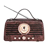 Portable Retro Bluetooth Speaker, FM Radio, Vintage Style Wireless Speaker, Stereo Sound, Bluetooth V4.2, with Built-in Mic, AUX Line and TF Card by Rekome