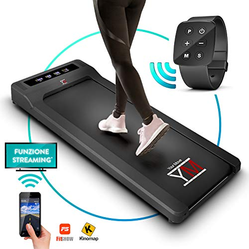 YM Tapis Roulant Elettrico Walking Pad Scrivania App KINOMAP e FITSHOW, Orologio Telecomando Watch...