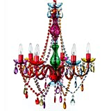 """6 Light Multicolor Hardwire Flush Mount Chandelier H26""""xW22"""", Red Metal Frame with Multicolor Glass Stem and Multicolor Acrylic Crystals & Beads That Sparkle Just Like Glass"""
