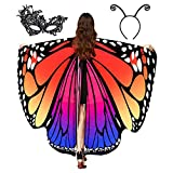 Butterfly Wings for Women, Butterfly Shawl Fairy Ladies Cape Nymph Pixie Costume Accessory (Orange)