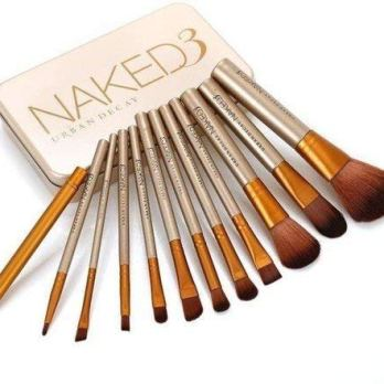 Ronzille Naked 3 Makeup Brushes Kit with Storage Box (Golden) – Set of 12
