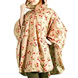 Rain Ponchos with Drawstring Hood for Adults,Iusun Cherry Print Motorcycle Bike to School to Work Thin Cape Raincoat,Extra Thick Waterproof Rain Coat for Travel,Camping,Hiking or Outdoors (Khaki)