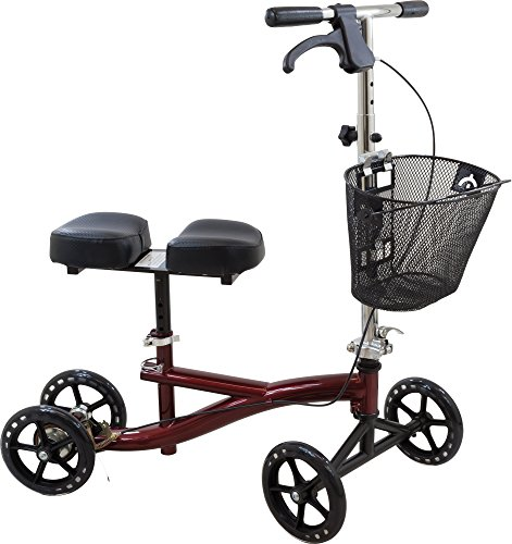 Roscoe Knee Scooter with Basket - Knee Walker for Ankle or Foot Injuries - Height Adjustable Knee Crutch Medical Scooter, Burgundy