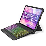Inateck iPad Pro 11 キーボードケース 第1世代と第2世代対応、DIYバックライト付き、分離式、KB02005