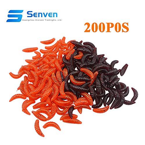 Senven verme artificiale, Biomimetic Morbido Silicone Earthworm Esche Worm Esche da Pesca Simulazione Red Worms plastica Verde Ambiente Strong Tentazione Esca Finta Red Worm - 200Pcs