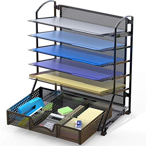 SimpleHouseware 6 Trays Desk Document File Tray Organizer with...