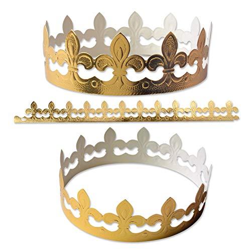 10 Stk. Kronen, gold   aus Papier   zum Zusammenstecken   Heilige Drei Könige