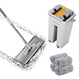 DEKOHM Flat Mop and Bucket Set, Self Cleaning Mop and Bucket with Wringer Set, Adjustable Stainless Steel Handle, Easy Squeeze 4 Microfiber Mop Pad Refill, Wet Mops for Laminate,Tiles,Vinyl, Mop Set