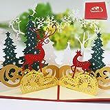 Navidad Tarjetas,Tarjetas de Navidad 3D,Navidad Tarjeta de felicitacin Pop Up Regalo Tarjeta con Sobres,para decoraciones navideas y felicitaciones navideas (Deer)