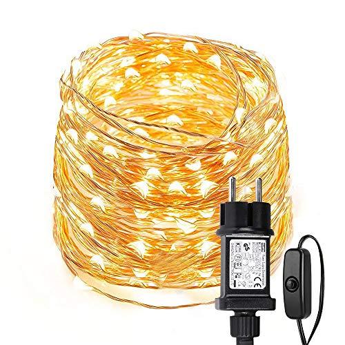 LE 10m 100 LED Luces de Hadas Blanco Cálido con Enchufe, Guirnalda de Luces Exteriores Impermeable IP65, Luz de Decoración Alambre de Cobre, Decorar de Fiestas, Arbol de Navidad, Balcón, Jardín etc.