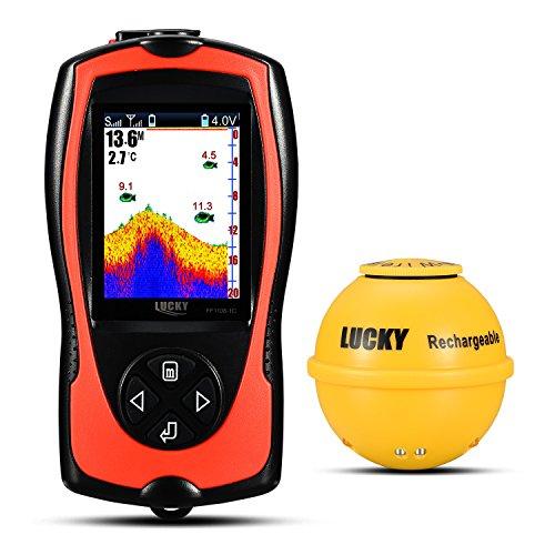 Lucky Ecoscandaglio da pesca ricaricabile wireless Fish Finder LCD ad alta definizione