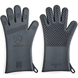 Premium Silicone BBQ Gloves & Grill Gloves in Attractive Gift Box. 13.5 inch Long for Better Protection. These Grilling Gloves are Best For Barbecue & Oven, Heat Resistant to 442 F (Size: L, 1 Pair)