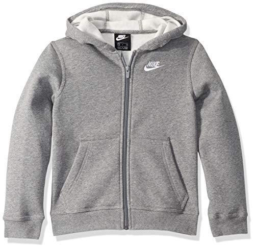 Nike Sportswear Club, Felpa con Cappuccio E Zip A Tutta Lunghezza Unisex Bambini, Carbon Heather/Smoke Grey/White, XL