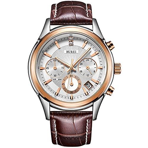BUREI Uhren Quarz Herren Armbanduhr Analog Wasserdicht Herrenuhren Chronograph Lederarmband Uhr Rosegold