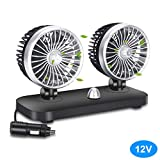 Car Fan Electric 12V Car Fan 2 Speed Dual Head Auto Fan Cooling Air Circulator Auto Air Conditioner Portable Seat Cooling Low Noise Portable Air Cooling for (12V)