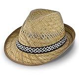 fiebig Chapeau de Paille de moissonneur (Protection Solaire) Mesdames et Messieurs   Chapeau de Soleil en Trilby Look pour l'été sur la Plage ou en Vacances   différentes Tailles   Couleur Nature