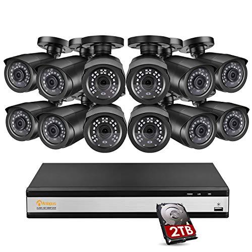Anlapus 1080P DVR Kit Videosorveglianza 16CH H.265+ ONVIF DVR con 12x2MP TeleCamera Esterna 2TB Disco Rigido, 20m Visione Notturna, Accesso Remoto