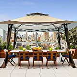 MEWAY 13'x13' Gazebos Tent for Patios Outdoor Canopy Shelter with Elegant Corner Curtain(Beige Brown)