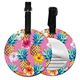 Travel Bag Tag Cartoon Cute Pineapple Fruit Painting Name Tags For Travel Bags Bag Tags For Travel with Adjustable Black Strap For Bags & Baggage with Privacy Protection For Women Men