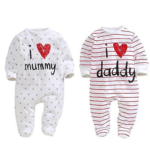 AOMOMO, 2 tutine per neonati, unisex, chiuse ai piedi, con scritte in lingua inglese 'I Love Mummy'...