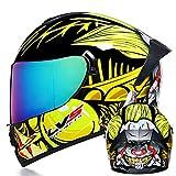TRIPERSON Full Face Motorcycle Helmet DOT Approved Motorbike Moped Street Bike Racing Crash Helmet, Men and Women (Yellow Clown Colored Lenses, Medium)
