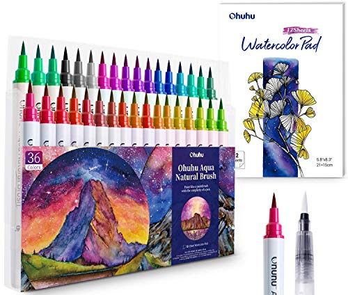 Watercolor Brush Markers Pens Set, Ohuhu 36 Colors Water-based Paint Marker with 12-Sheet Watercolor Pad & A Blending Aqua Brush, Nylon Brush Tip for Coloring Calligraphy Drawing, Mother's Day Gift