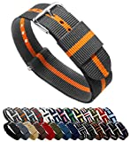 22mm Smoke/Pumpkin Standard Length- BARTON Watch Bands - Ballistic Nylon NATO Style Straps