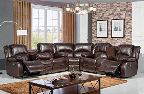 Mcferran Home Furniture Bonded Leather Sofa Sectional, SF3592 Brown SF3591 Black