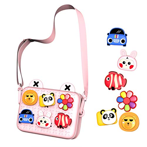 51icJqh9PrL Design: Removable silicon cartoon tags, your kids can stick them in any order. Lightweight & Practical: Designed to hold small toys, kids camera, snacks, tissue and other little thing, this portable bag is suitable for daily using. Good Quality: With soft silicon, durable nylon shoulder strap and zipper closure, safe material, easy for a child to open and close.